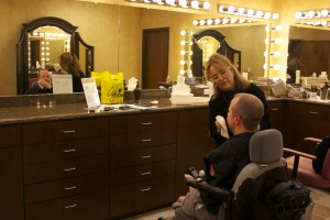 Pro Life Speaker, Chet McDoniel, in the makeup room at Life Today