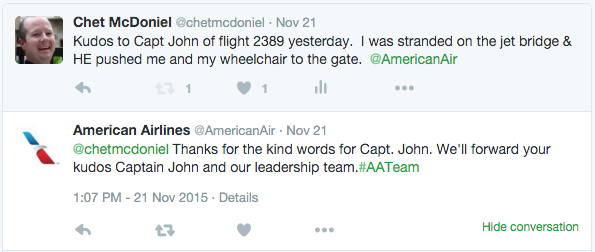 Tweet to American Airlines about Capt. John