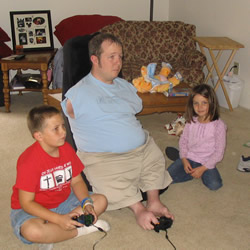 Chet playing games with nephew and niece